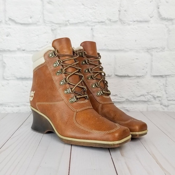 b847ab77288 Timberland Brown Leather Wedge Heel Ankle Boots